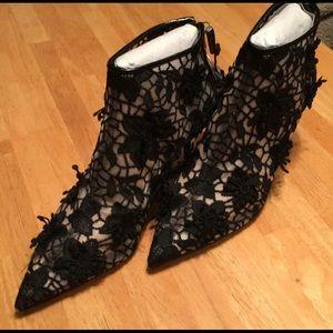Zara Black Fishnet High Heels